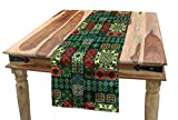 Ambesonne Ethnic Table Runner, Portuguese Azulejo Ceramic Tiles Talavera Style Traditional European Culture Motifs, Dining Room Kitchen Rectangular Runner, 16' X 72', Multicolor
