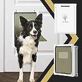 Dog Door,Pet Door for Dogs and Cats,Medium Doggie Door for Exterior Doors,Plastic Freedom Pet Doors with Aluminum Lining,2-Way Locking Sliding Panel,Consolidate Soft Flap,Anti-Rust,Easy to Install