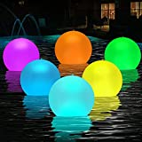 HueLiv Pool Lights, Solar Floating Balloon Lights 14' 2PCS Outdoor Color Changing Inflatable LED Lights Waterproof with Remote Control for Swimming Pool Garden Patio Lawn Wedding Party Decorations