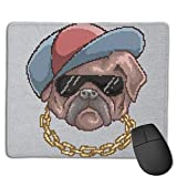 Dog with Baseball Cap and Chain Pixel Art Indoor Outdoor Rug 40cmx60cm Front Door Mat Waterproof, Non Slip Washable Quickly Absorb Moisture and Resist Dirt Rugs for Entryway