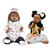 Reborn Baby Dolls Twins Black Girl Boy Real Looking Realistic Newborn Real Life Baby Dolls Accessories Silicone Full Body 22 Inch (Reborn Baby Doll Twins)
