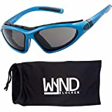WYND Blocker Vert Motorcycle & Boating Sports Wrap Around Polarized Sunglasses (Blue/Smoke Lens)