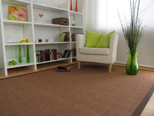 Astra Sisal Teppich Manaus mit Bordüre Farbe braun coffee 100% Sisal - 18 Größen, Größe: 200x290 cm