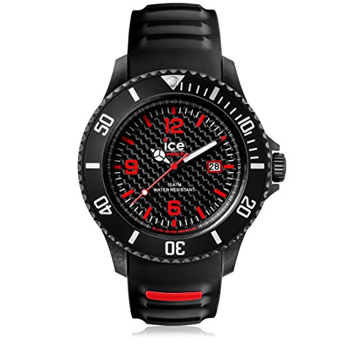 Ice-Watch - ICE carbon Black White - Men's wristwatch with silicon strap - Chrono - 001316 (Extra large)
