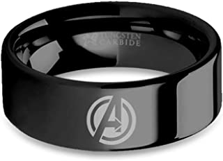 Avengers A Circle Logo Laser Engraved Black Tungsten Ring - 8 mm