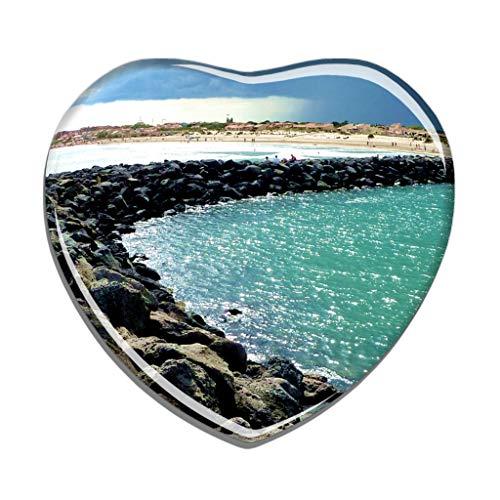 Hqiyaols Souvenir Frankreich FKK Strand Cap-d'Agde Kühlschrankmagnet Herzform Kristall Kühlschrank Aufkleber Magnet Reisen Geschenk Sammlerstücke Andenken