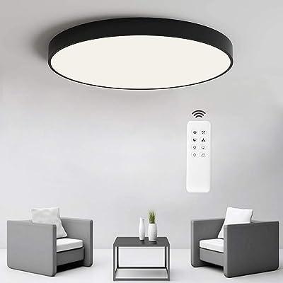 ANTEN Plafonnier LED Dimmable 24W, Plafonnier LED Télécommande, 3000K-6500K Ø30cm,Lampe de Plafond Ultra-Mince Rond Pour Cuisine Chambre Salon Salle à Manger - Noir