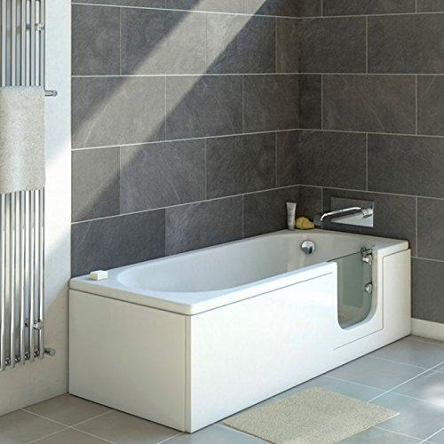 Senioren Badewanne mit Tür CASCADE 150x70 cm R komplett mit Schürze und Ablauf