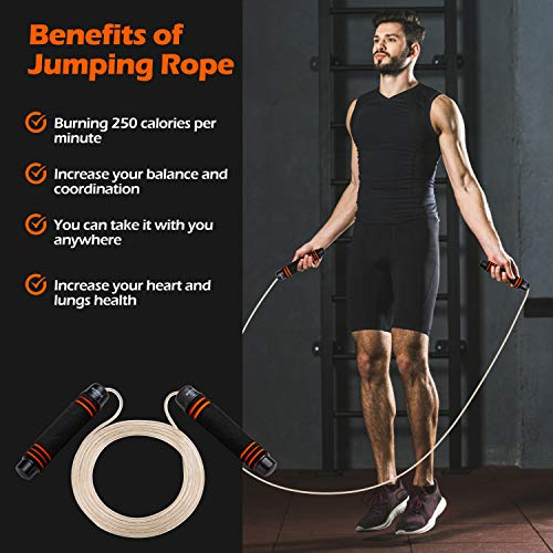 Skipping Rope Adult Fitness Women/ Gym Boxing Speed Jump Rope Exercise for Men & Kids - Rapid Skip Ropes Ideal for Calorie & Fat Burning Workout, Endurance Training and Home Fitness