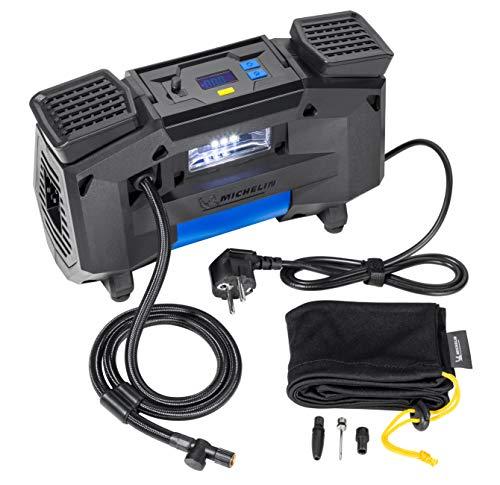 MICHELIN 62002 Luftkompressor 220v fürs Auto | Tragbar und Digital | Reifendruck Luft Kompressoren Perfekt für Allrad, SUV und Fahrrad, Schwarz, Hochleistungskompressor-230 V