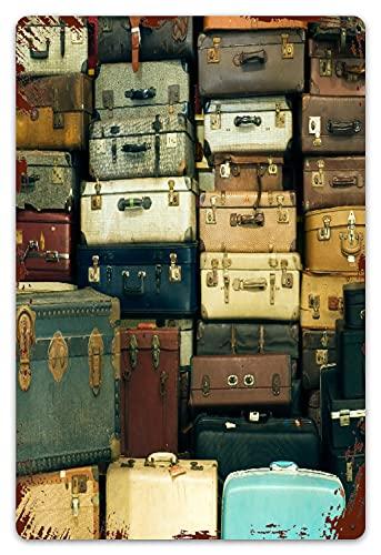 MIFSOIAVV Vendimia Cartel de Chapa metálica Un montón de maletas antiguas y antiguas Placa Póster,Decoraciones de de Pared de Hierro Retro para Café Bar Pub Casa 20x30cm