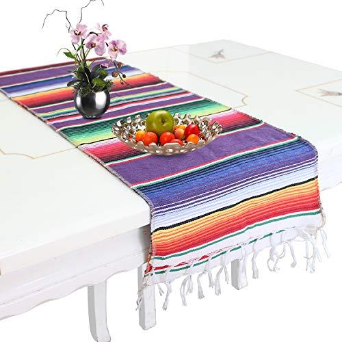 Chemin de Table Keeda, 30 x 180 cm, Couverture en Coton et Lin, décoration de Table de Salle à Manger pour intérieur ou extérieur, fête, décoration de Vacances, Coton, Style Mexicain, 35x 213cm