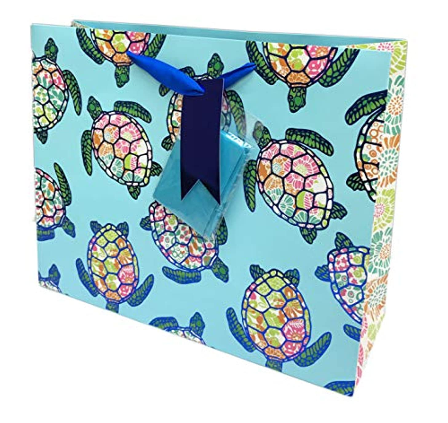Whimsical Floral Sea Turtles Themed Birthday Party Celebration Gift Bag & Tissue Paper