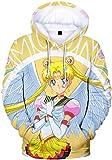 Silver Basic Sudadera con Capucha de Sailor Moon para Mujer,Sudadera de Manga Larga con Estampado 3D, Disfraz de Cosplay de Anime Japonés Sailor Moon Sudadera M,76Amarillo-2