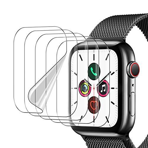 UniqueMe [5 Pack] Protector de Pantalla para Apple Watch Series 6 / Apple Watch SE44mm, [Instalación sin Agua] [Huella Digital Disponible] HD Clear TPU Flexible para Apple Watch Series 6 / SE44mm