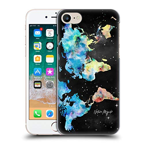 Head Case Designs Ufficiale Nature Magick Blue Yellow on Space Stars Watercolor World Map Teal Pink Cover Dura per Parte Posteriore Compatibile con Apple iPhone 7 / iPhone 8 / iPhone SE 2020