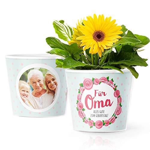 Facepot Geburtstagsgeschenk für Oma - Blumentopf (ø16cm) mit Bilderrahmen für Zwei Fotos (10x15cm) - Alles Gute zum Geburtstag