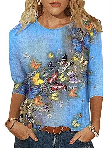 T-shirt da donna con stampa animale, girocollo, mezza manica gatto modello bicicletta pullover estate casual t-shirt Farfalla celeste XXL