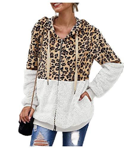 DressUWomen Outwear Shaggy - Chamarra con Capucha y Cierre para Mujer, diseño de Leopardo, Blanco, S