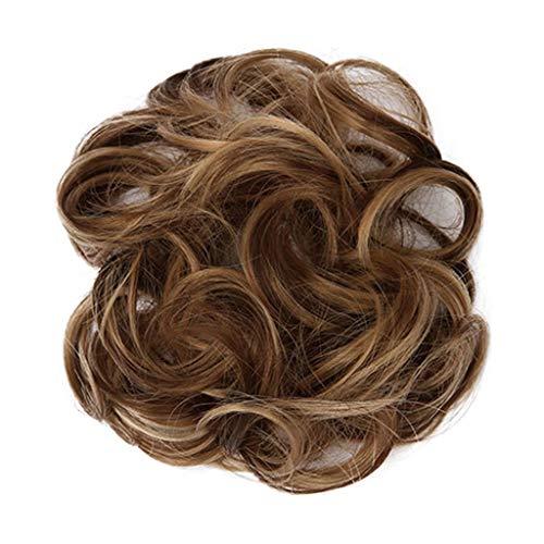 JXQ-N 9 Farben Damen Mode Haargummi Haarteil Synthetik Haare für Haarknoten Gummiband Hochsteckfrisuren Haarband Mittelbraun Gewellt Haar Ring Haarknoten Haarverdichtung (B)
