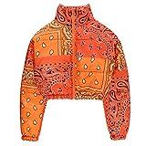 Women Padded Winter Jacket Shiny Short Puffer Printed Zipper Bubble Coats (Orange, XL)