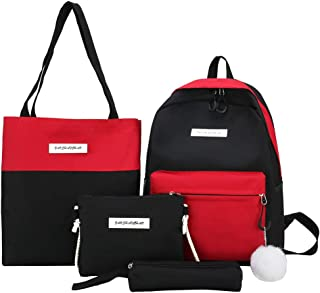 4Pcs Women Canvas Hand Bag Shoulder Bag Crossbody Bag Pencil Case Package School Bag for Girls Kids Boys Women Men