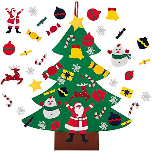 Huante DIY Felt Christmas Tree 96 cm for DIY Decorations, Christmas Tree Wall Decoration, Gifts