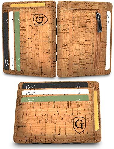 Vegas Magic Wallet - Kleiner Geldbeutel - TÜV geprüft - Dünne Geldbörse mit Münzfach - Geschenk für Herren und Damen mit Geschenkbox - Smarter Geldbeutel - Slim Portemonnaie (Hellbraun - Kork)