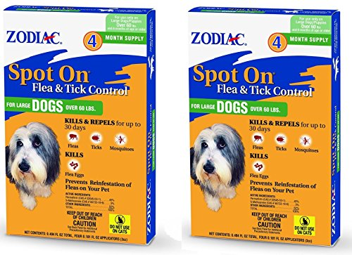 (2 Packages) Zodiac Flea & Tick Spot On for Large Dogs Over 60 lbs/4-pk each