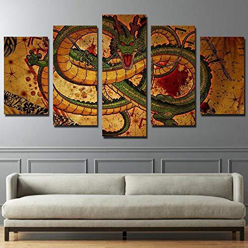 Tackbz druk op canvas woonkamer poster wandposter modulaire HD druk 5 panelen decoratieve doos draak foto comic 150 x 100 cm moderne schilderijen en druk hoge-resolutie