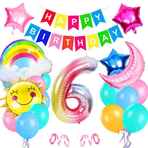 Foil Globo Número 6 Rosa, Cumpleaños Globos 6, 6er Cumpleaños Globos, Decoración de cumpleaños 6 en Rosa, Feliz Cumpleaños Decoración Globos 6 Años Niñas, Arco Iris Globos de Número 6