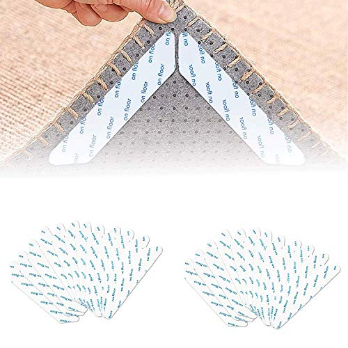 Antirutschmatte für Teppich, 16 Stück Waschbar Teppichgreifer Antirutschmatte, rutschfeste Teppich Aufkleber Wiederverwendbar Teppichunterlage Rug Grippers Starke Klebrigkeit