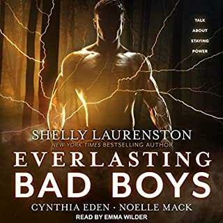 Everlasting Bad Boys     Dragon Kin Series              Auteur(s):                                                                                                                                 Shelly Laurenston,                                                                                        Cynthia Eden,                                                                                        Noelle Mack                               Narrateur(s):                                                                                                                                 Emma Wilder                      Durée: 11 h et 40 min     2 évaluations     Au global 4,5