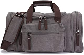 GLJJQMY Travel Bag Outdoor Travel Luggage Bag Large Capacity Men and Women Casual Canvas Bag Splash-Proof Single Shoulder Messenger Bag, 53 X 25 X 29cm Travel Bag (Color : Gray)