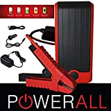PowerAll PBJS12000RD DELUXE 400 Amp 12,000mAh Lithium Ion V4 V6 V8 Portable Jump Starter, Power Bank, LED Flashlight with Case and Cables