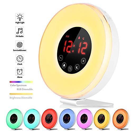 Wecker Wake Up Light Lichtwecker, mit 7 Wecktöne (inkl. 2Naturklänge und FM), 7Farben, 10Dimmstufen, Sonnenaufgangssimulator, Nachtlicht mit Adapter (6639)