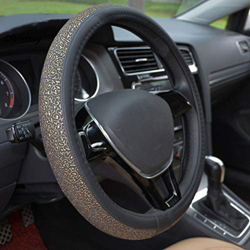 Float Couvre Volant Car Leather PU Accessoires Voiture Or