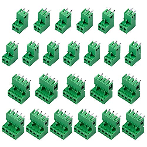 cococity 22 Paare 5,08mm 2 Pins PCB Schraubklemme Anschluss Steckbare + 2 Pins Plug-in Schraube PCB Terminal Block Stecker rechts Winkel (2 Pin-11Paare, 4 Pin-11Paare) 300V 10A (Grün)