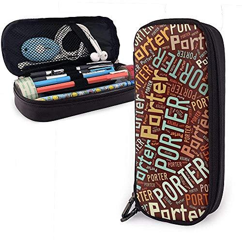 Porter Amerikaanse Achternaam Hoge Capaciteit Lederen Potlood Case Pen Houder Opbergvak Organizer College Make-up Pen Draagbare Cosmetische Tas