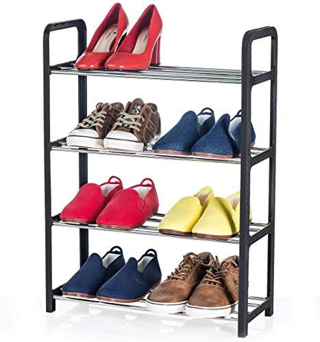 A-Generic Zapatero de 3 Pisos, Organizador de Zapatos para Espacios pequeños, estanterías para almacenar hasta 6 Pares, estantes de Barra de Metal y Marco de plástico Negro-4 Pisos