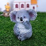 starbluegarden Amusing Mini Koala Statue Koala Tree Root Flowetpot Figurine Ornament Fairy Garden Decor Bookshelf Tabletop Flowetpot Decor Gift (Gray)
