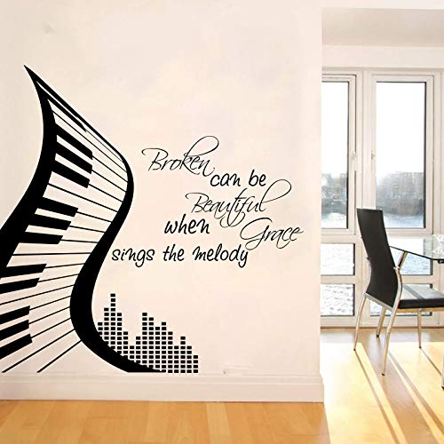 Modern Piano Broken kann schön Sein, wenn Grace die Melodie singt Wandaufkleber Musik Piano Motivational Quote Wall Decal Vinyl 70 * 70CM