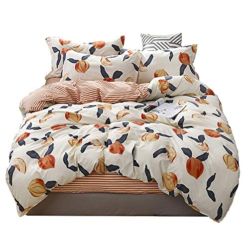 Feelyou Fruits Duvet Cover Set Queen for Girls Women Peach Bedding Set Cute Cartoon Decorative Microfiber Polyester Bedspread Cover With 2 Pillow Shams, Tropical Lovely Quilt Cover 3 Pcs, Zipper, Soft
