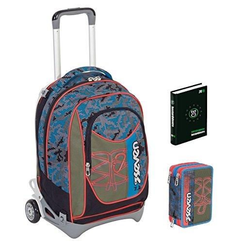 Seven Trolley New Jack + DIARIO + Astuccio - Bitmap - Verde Nero - SGANCIABILE e Lavabile - Scuola e Viaggio