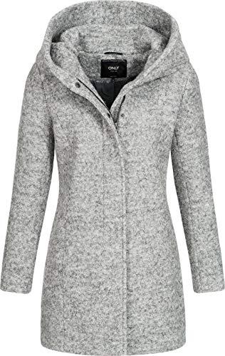 ONLY Onlsedona Boucle Wool Coat Otw Noos Abrigo, Gris (Light Grey Melange Detail:Melange), M para Mujer