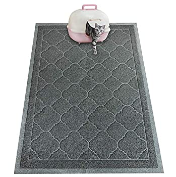 PETUPPY Premium Durable Cat Litter Mat XL Size 47 X36 - No Phthalate- Non-Slip-Water Resistant- Easy to Clean-Soft On Kitty Paws-Traps Litter from Litter Box Extra Large Gray Khaki