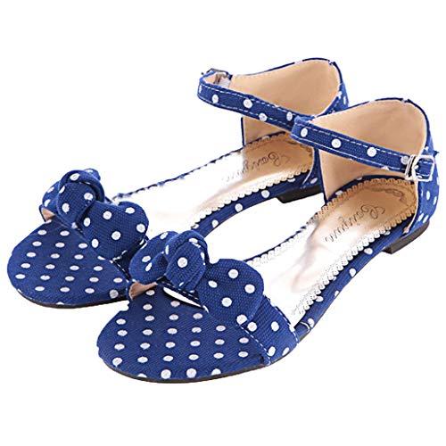 Femany Damen Polka Dots Schuhe Rockabilly Sandalen mit Riemchen Flach und Punkten Sandaletten Schleife Schuhe (Blau,39)