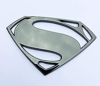 Fan Emblems Superman Logo 3D Car Emblem Black Chrome, Batman v Superman: Dawn of Justice BvS Automotive Sticker Decal Badge Flexes to Fully Adhere to Cars, Motorcycles, Laptops, Windows, Most Things