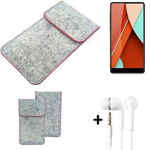 K-S-Trade® Handy Schutz Hülle Für Bluboo D5 Pro Schutzhülle Handyhülle Filztasche Pouch Tasche Case Sleeve Filzhülle Hellgrau Roter Rand + Kopfhörer