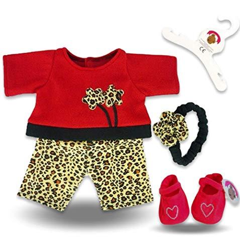 Build your Bears Wardrobe Construire Votre Ours Armoire à vêtements 38,1 cm Ajustement Ours Léopard Tenue (Rouge)